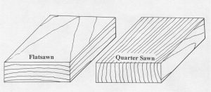 Figure 1. Flat sawn and quarter sawn boards.