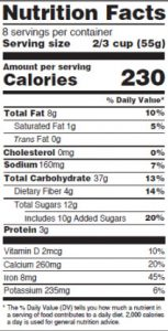 Proposed multi-serving Nutrition Facts label.