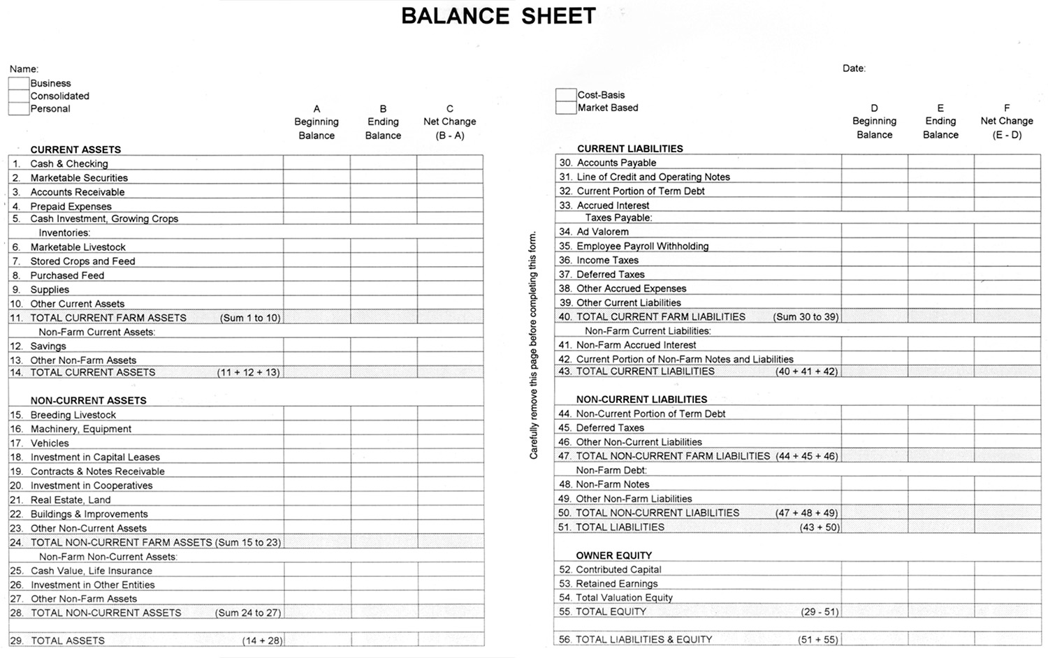 Balance Sheet | Agec 752 Developing A Balance Sheet Osu Fact Sheets