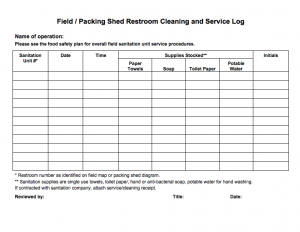 Field/Packing Shed Restroom Cleaning and Service Log
